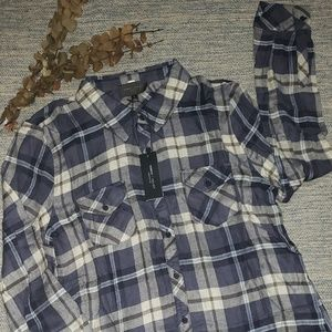 Romeo and Juliet plaid button down